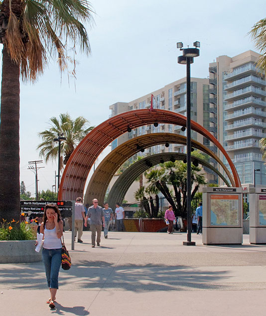 metro red line entrance near the L+O apartments in North Hollywood