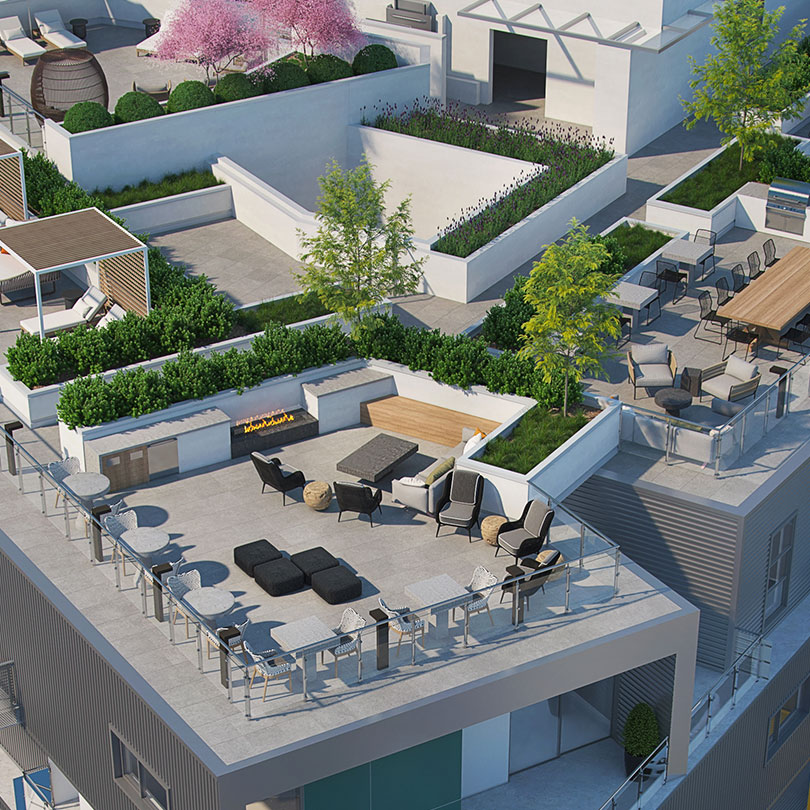 rooftop deck at L+O apartments in North Hollywood