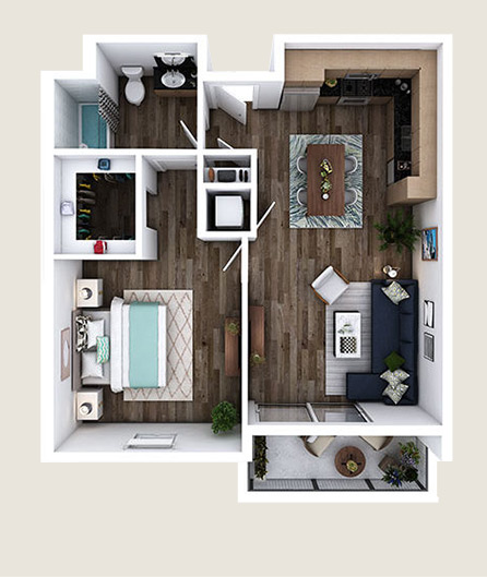 K-E 1 bedroom floorplan at L+O apartments in North Hollywood