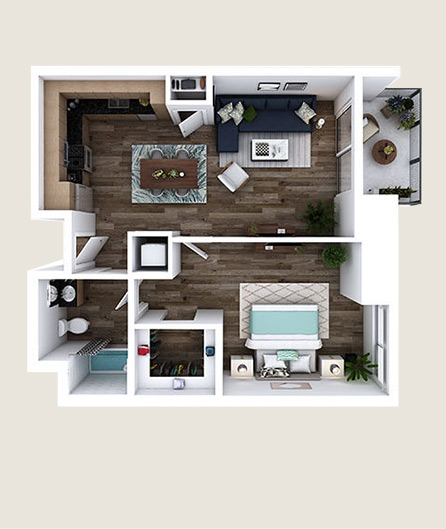 L-E3 floor plan at L+O apartments in North Hollywood