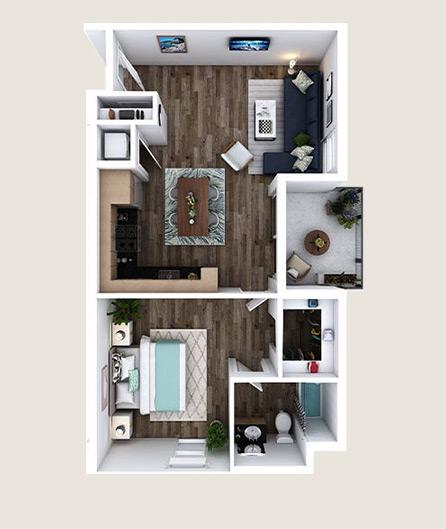L-M floorplan at L+O apartments in North Hollywood
