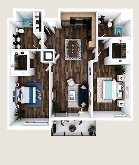 L-R1 floor plan at L+O apartments in North Hollywood
