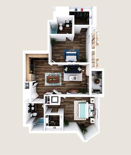 L-V floor plans at L+O apartments in North Hollywood