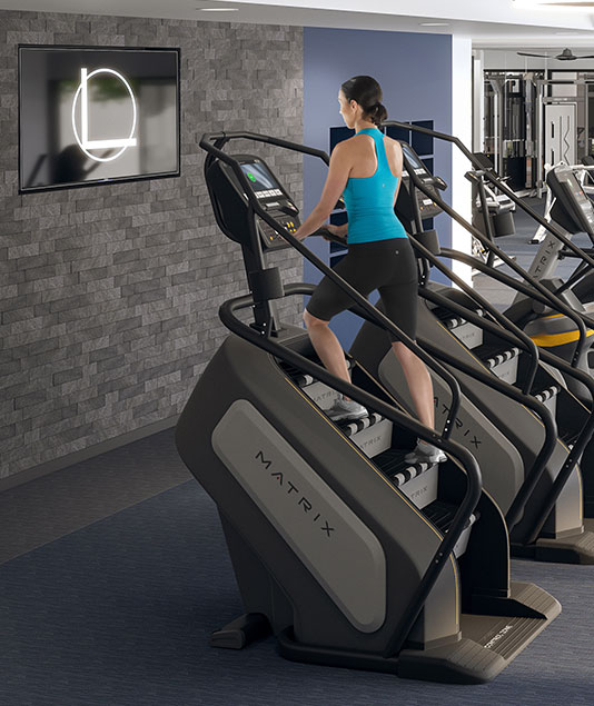 stair master inside L+O apartments in north Hollywood