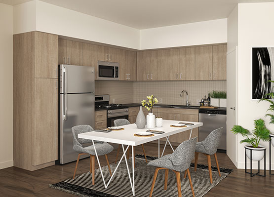 kitchen area inside L+O apartments in North Hollywood